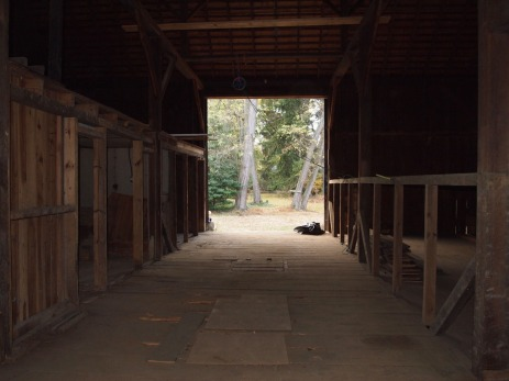 main room; looking out the barn doors.