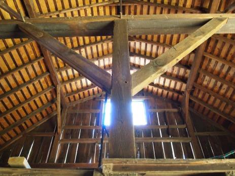 hay loft post and beams.