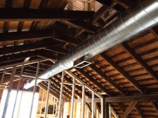 exposed spiral ducts (into master bed).