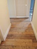 reused barn wood as flooring.