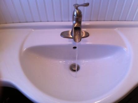 first floor bathroom sink.