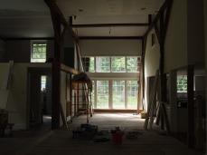 the barn doors / dining room.
