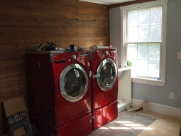 laundry room. (the wood wall was existing, we just left it and framed around it.)